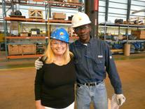Shawn Franklin and Lana Keeton Inspect Galvalume Steel Coils on Steel Plant Tour